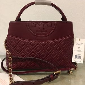 TORY BURCH Quilted Fleming Deep Berry Satchel